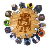 Multi-Ethnic People Social Networking with Technology Concepts Stock Image