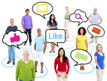 Multi-Ethnic People With Speech Bubbles Royalty Free Stock Images