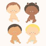 Multi-ethnic set of four babies sitting. Toddler girls and boys. Cartoon vector hand drawn eps 10 illustration isolated Royalty Free Stock Photos
