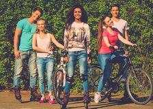 Multi ethnic sporty teenage friends Royalty Free Stock Photo