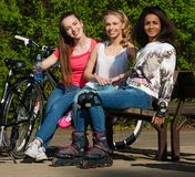 Multi ethnic sporty teenage girls Royalty Free Stock Photo