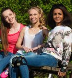 Multi ethnic sporty teenage girls Stock Photography