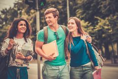 Multi ethnic students in a city Stock Image
