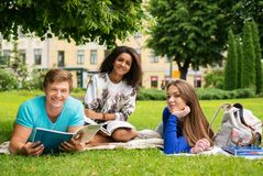 Multi ethnic students in park Stock Images