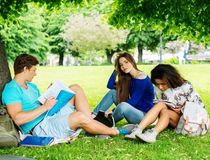 Multi ethnic students in a park Stock Images