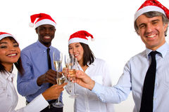 Multi-ethnic team celebrating christmas Royalty Free Stock Photos
