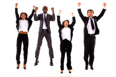 Multi-ethnic team rejoiced. In white background Royalty Free Stock Photos