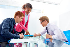 Multi ethnic teamwork of young business people Stock Image