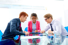 Multi ethnic teamwork of young business people Stock Photos
