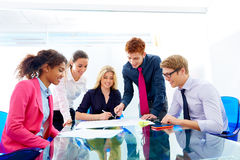 Multi ethnic teamwork of young business people. Meeting working at office Stock Photography