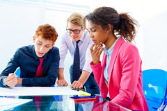 Multi ethnic teamwork of young business people Stock Photo