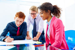 Multi ethnic teamwork of young business people Royalty Free Stock Images