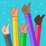 Multi Ethnic Thumbs up Illustration Stock Photography