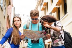 Multi ethnic tourists in old city Stock Photo