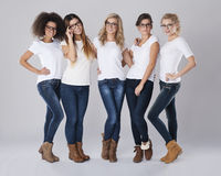 Multi ethnic women with glasses Royalty Free Stock Images