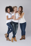 Multi ethnic women. Posing together royalty free stock photo