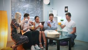 Multi-ethnic young people making toasts with dry ice cocktails on birthday party. Multi-ethnic young people making toasts with dry uce cocktails on birthday stock video footage