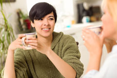 Multi-ethnic Young Woman Socializing with Friend Stock Images