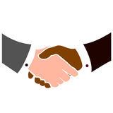 Multi ethnicity handshake. Vectorial illustration for handshake between a coloured and a white person Royalty Free Stock Photos