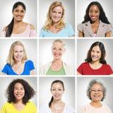Multi--Ethnics Gesicht der Leute-s in Folge stockfotografie