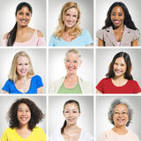 Multi-Ethnics People s Face in a Row stock photography