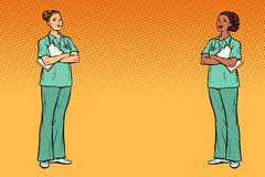 Multi Ethnie der Pop-Art Zwei Krankenschwestern Medizin- und Gesundheitsrückseite stock abbildung
