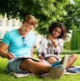 Multi etnisch studentenpaar in een park stock fotografie
