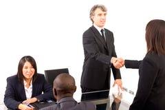 Multi-etnisch team tijdens een vergadering Stock Foto's