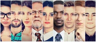 Multi-etnische groep ernstige mensen stock afbeelding