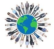 Multi-etnische Groep Mensen met Globale Mededeling vector illustratie
