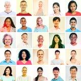Multi-etnische groep met sepia gestemde Portretten stock afbeeldingen