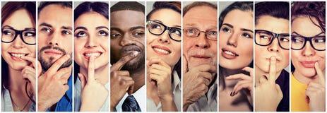 Multi-etnische groep nadenkende mannen vrouwen Mensen` s gedachten royalty-vrije stock foto's