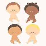 Multi-etnische reeks van vier babys het zitten Peutermeisjes en jongens Beeldverhaal vectorhand getrokken eps 10 geïsoleerde illu Royalty-vrije Stock Foto's