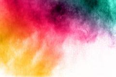 Multi explosão colorida do pó no fundo branco imagens de stock