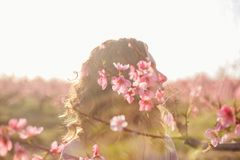 Multi-exposure flower girl. Peach blossom in spring garden stock photography