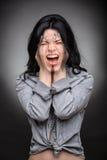 Multi exposure portrait of emotional brunette Royalty Free Stock Images
