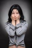 Multi exposure portrait of emotional brunette Royalty Free Stock Photography
