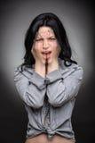 Multi exposure portrait of emotional brunette Royalty Free Stock Photo