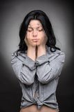 Multi exposure portrait of emotional brunette Stock Images