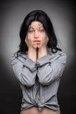 Multi exposure portrait of emotional brunette Stock Image