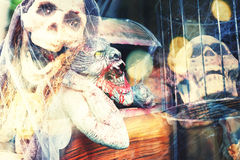 Multi exposure of scary halloween background Stock Image