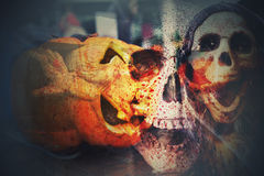 Multi exposure of scary halloween background Royalty Free Stock Photography