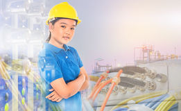 Multi exposure of young lady with refinery industrial plant Royalty Free Stock Images