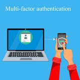 Multi-factor authentication design. Stock Photo