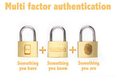 Multi factor authentication padlocks concept are know and have. Multi factor authentication concept with three padlocks isolated on white and the phrase royalty free stock photo