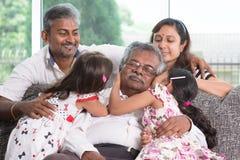 Multi famiglia dell'indiano delle generazioni Fotografie Stock Libere da Diritti