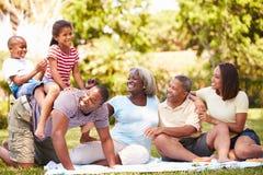 Multi famiglia della generazione divertendosi nel giardino insieme Fotografie Stock