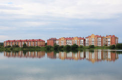 Multi-family brick houses by the lake Stock Image