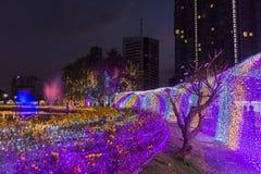 Multi Farben LED verzierten öffentlich Park Stockfotos