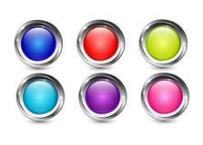 Multi Farbglatte Knöpfe mit metallischem Chrom glänzen Rahmen stock abbildung